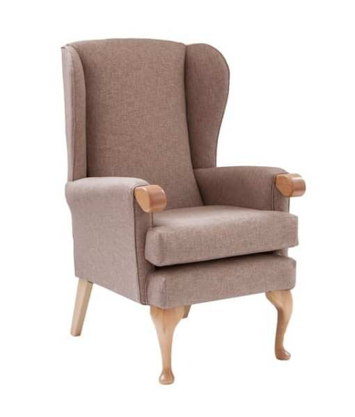 Lauryn high seat chair with wooden knuckle in soft darcy chenille fabric