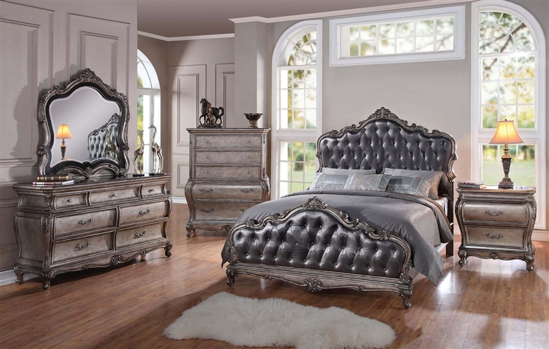 Chantelle 6 Piece Bedroom Set in Antique Silver Finish by Acme   20540