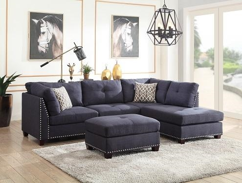 laurissa 3 piece sectional in dark blue linen by acme 54365