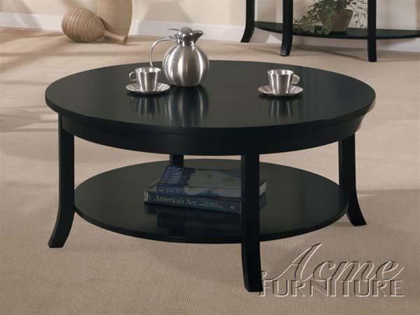 gardena round coffee table in dark espresso finish by acme 8000