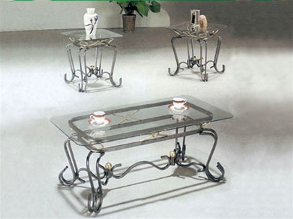 alexandra glass top 3 piece coffee end table set by acme 8222