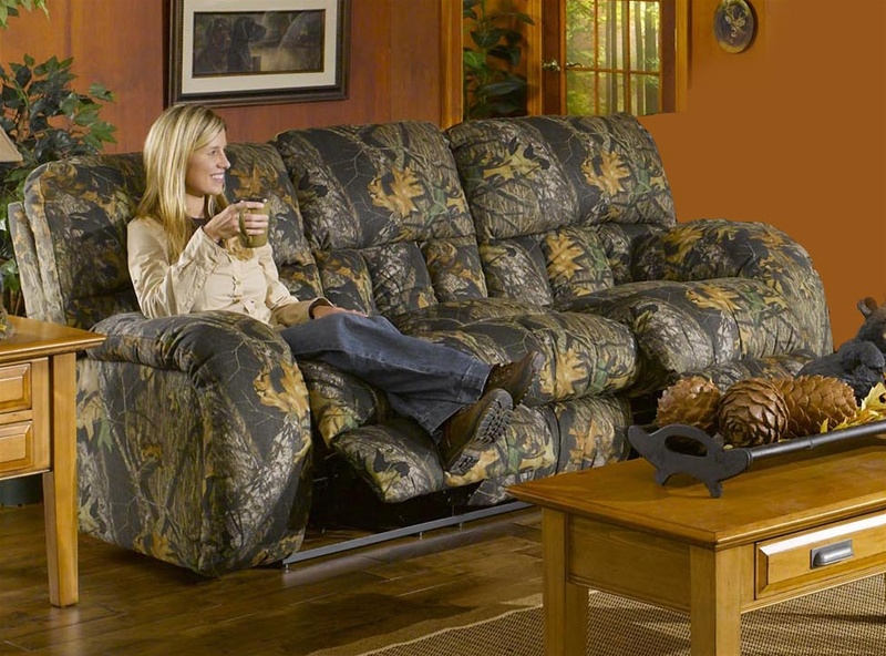 Superior Lodge Manual Reclining Sofa In Camouflage Cover By Catnapper 3781