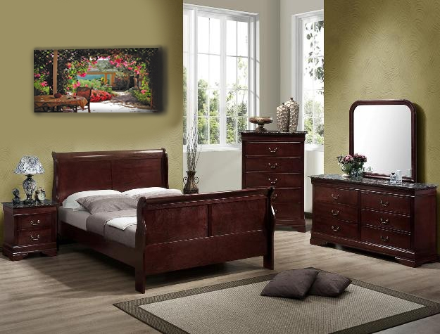 louis philip 6 piece marble bedroom suite in distressed dark cherry finish by crown mark b3750