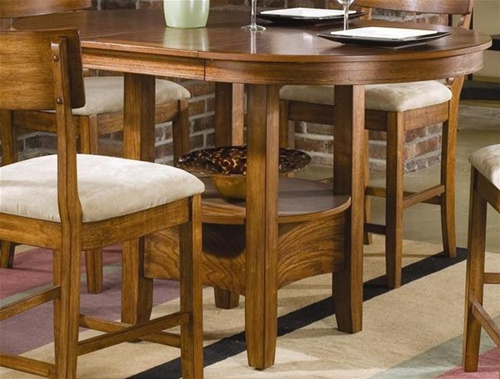 Storage Counter Height 5 Piece Dining Set With Round Oval Table Top In Oak Finish By Coaster 101008