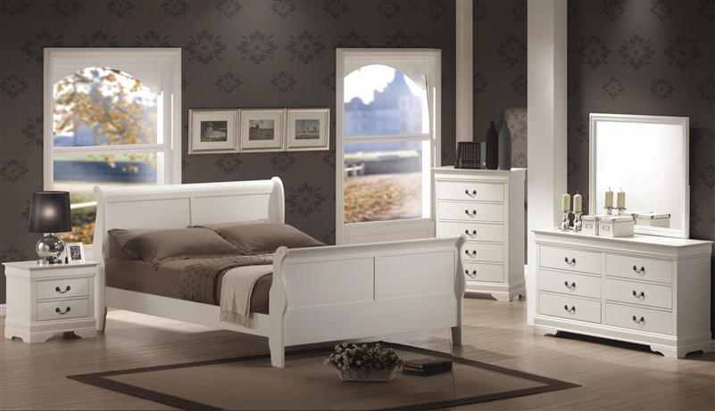 louis philippe 6 piece bedroom set in white finish by coaster - 204691