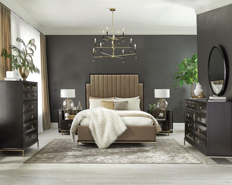 formosa platform camel velvet upholstered bed 6 piece bedroom set in americano finish by coaster 222820