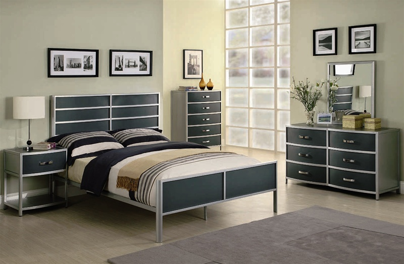 dewey 4 piece youth metal bedroom set in two tone finish by coaster 400391