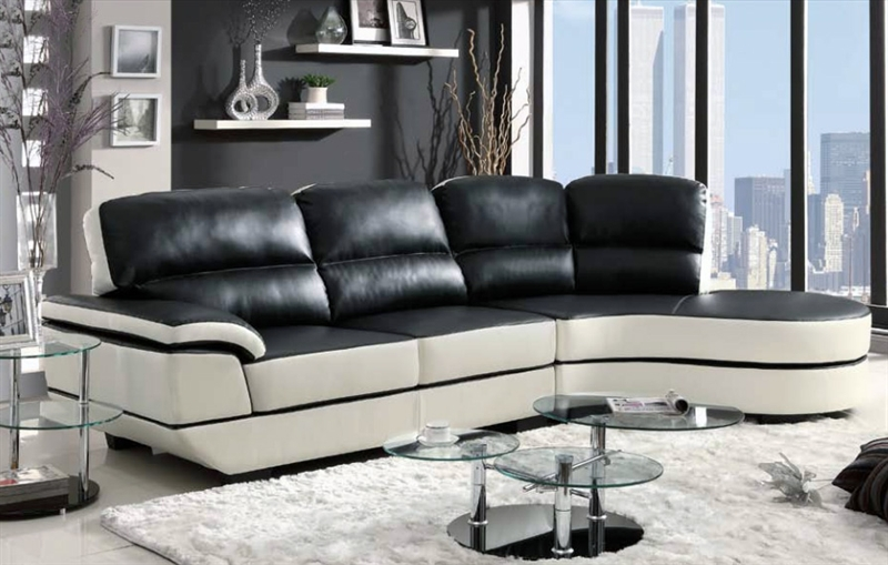 reese black and white leather sectional by coaster 503630