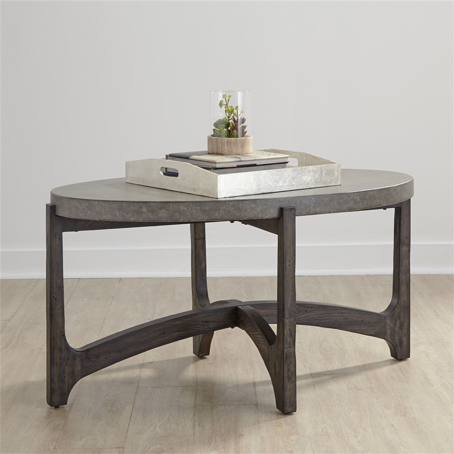 cascade oval cocktail table in wire brush rustic brown finish by liberty furniture 292 ot1010