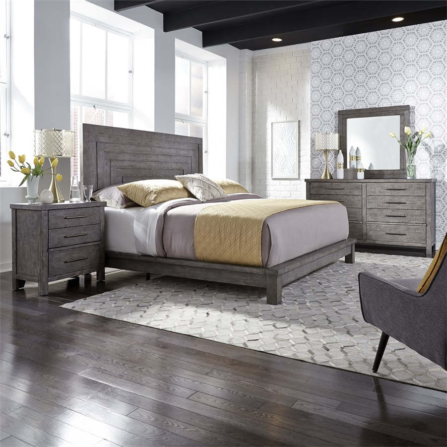 modern farmhouse platform bed 6 piece bedroom set in distressed dusty charcoal finish by liberty furniture 406 br qpldmn