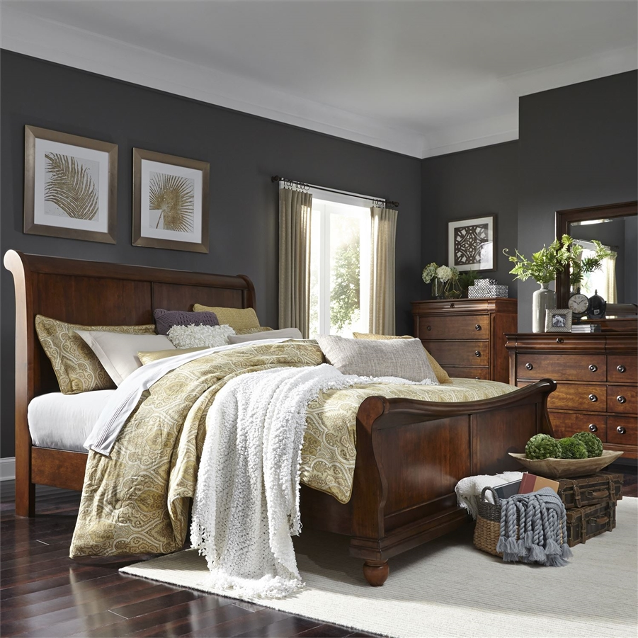 rustic traditions sleigh bed 6 piece bedroom set in rustic cherry finish by liberty furniture lib 589 br qsldmn