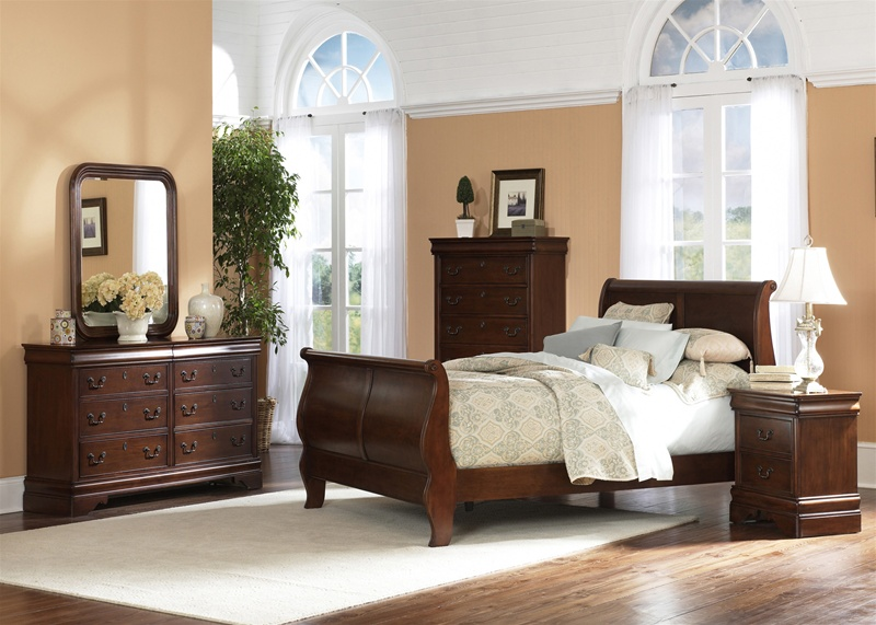 louis philippe sleigh bed 6 piece bedroom set in brown cherry