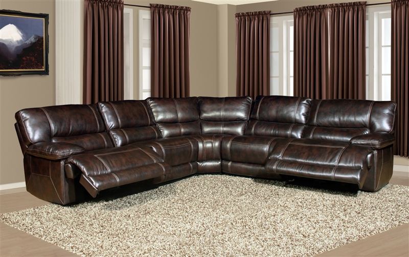 pegasus 5 piece power reclining sectional in nutmeg synthetic leather by parker house mpeg 811lp nu 5