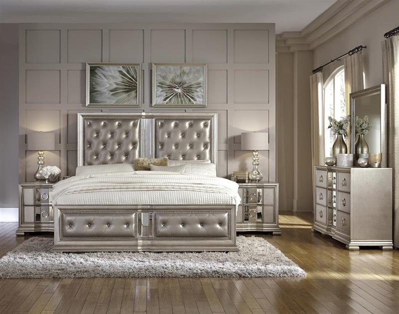 couture platinum finish 6 piece bedroom set by pulaski pul p022170
