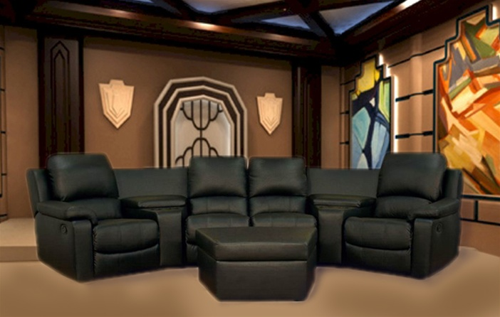 boden 7 piece black leather theater seating sectional by theatre delux 8802 b