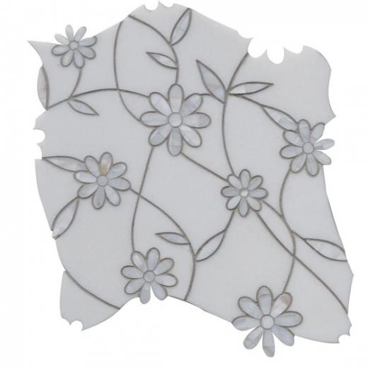 gerbera thassos mother of pearl floral mosaic tile by soho studio mjgerbera