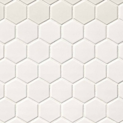 msi white matte 2 hexagon mosaic tile