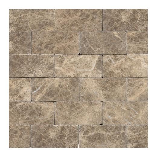 marble emperador light classic 3x6 subway tile tumbled m712