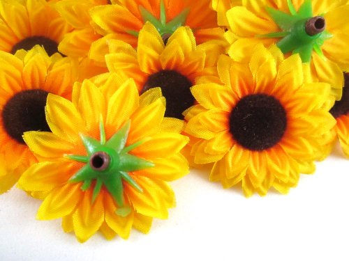 100 Silk Yellow Sunflowers Sun Flower Heads Gerber