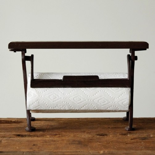 cast-iron-and-wood-paper-towel-holder