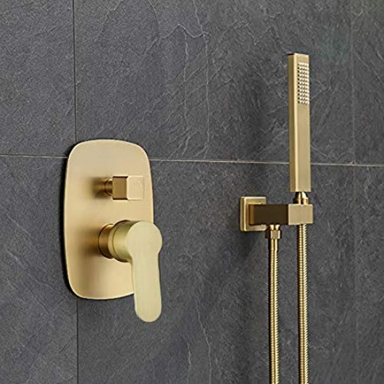 brushed gold brass shower faucet bathroom rain mixer combo set 10 inch brass rainfall shower head wall mount system contain rough in shower valve body