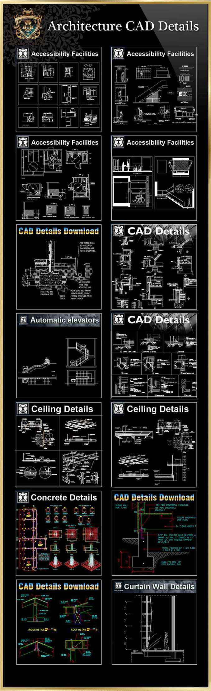 【All 40 Architecture CAD Details Collections】 (Total 40 Best Collections)