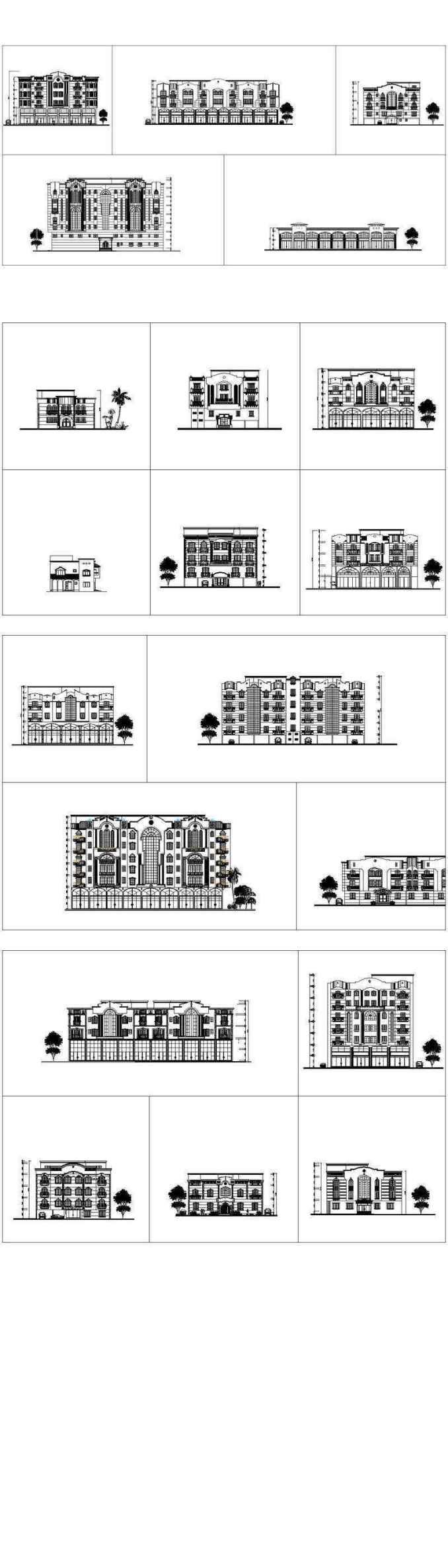 ★【Over 170+ Architecture Elevation,Building elevation CAD  Design,Details,Elevation Collection】Facade design, building facade, home  facade,