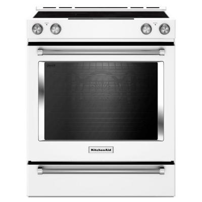 KitchenAid 30 in. 6.4 cu. ft. Slide-In Electric Range with Self-Cleaning Convection Oven in White
