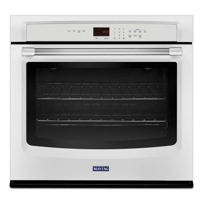 Maytag 27 in. Single Electric Wall Oven Self-Cleaning in White with Stainless Steel Handle