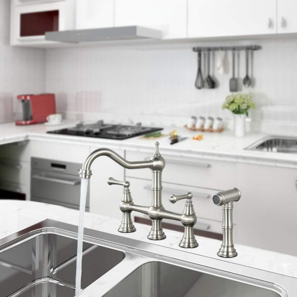 wowow 2 handle bridge kitchen faucet with side sprayer