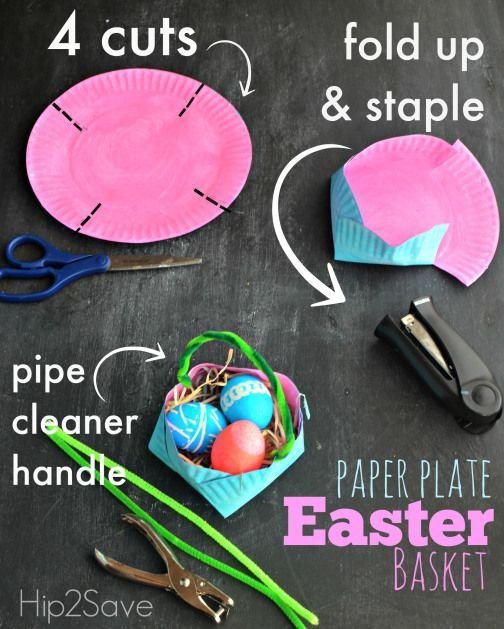 Homemade Paper Plate Easter Basket