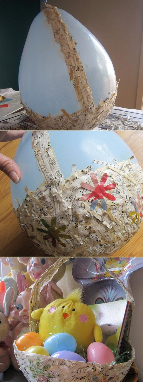 Easter Basket Recycled From Shredded Paper