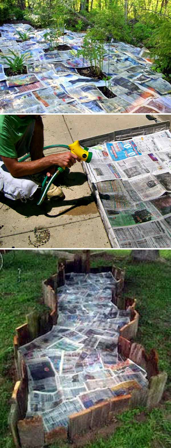 Use newspaper and water to stop weeds from growing