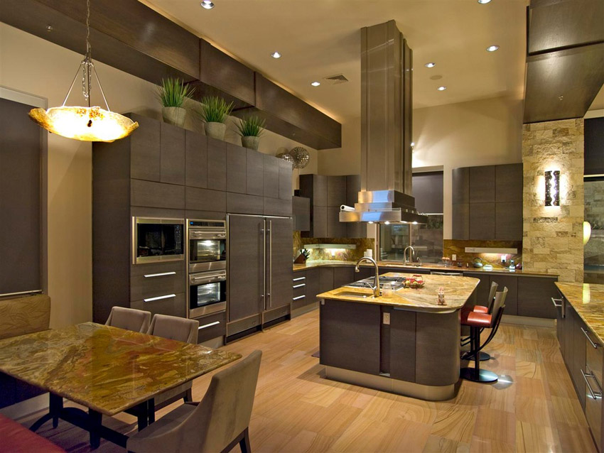 Contemporary Kitchen With High Ceilings Light Wood Floors