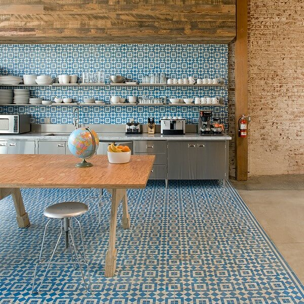 For added impact, use the same encaustic tile on the walls too!