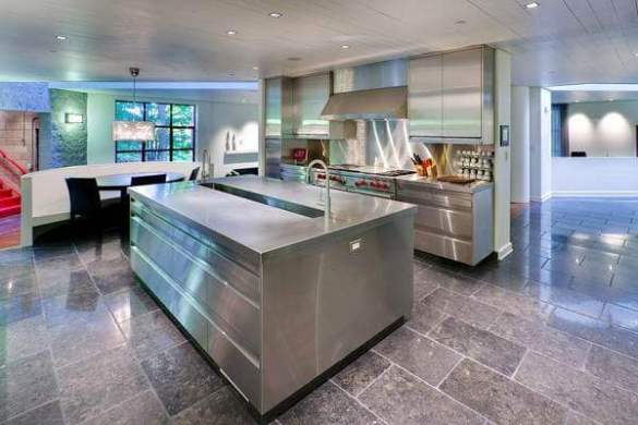 36 Kitchen Floor Tile Ideas  Designs and Inspiration June 2017     This rugged stone floor is a great compliment to the stainless steel kitchen