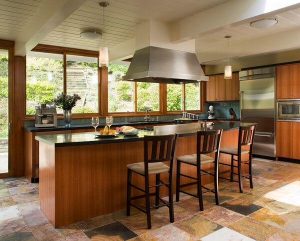 Stunning kund multicolor slate makes a strong statement in this contemporary kitchen.
