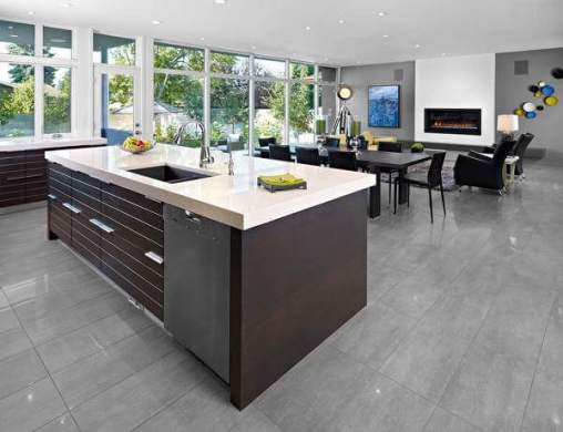 36 Kitchen Floor Tile Ideas  Designs and Inspiration June 2017     These very on trend gray porcelain tiles are ideal for a contemporary  open plan space