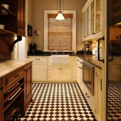 36 Kitchen Floor Tile Ideas  Designs and Inspiration June 2017     Small checkerboard tiles are a good choice in a traditional kitchen design