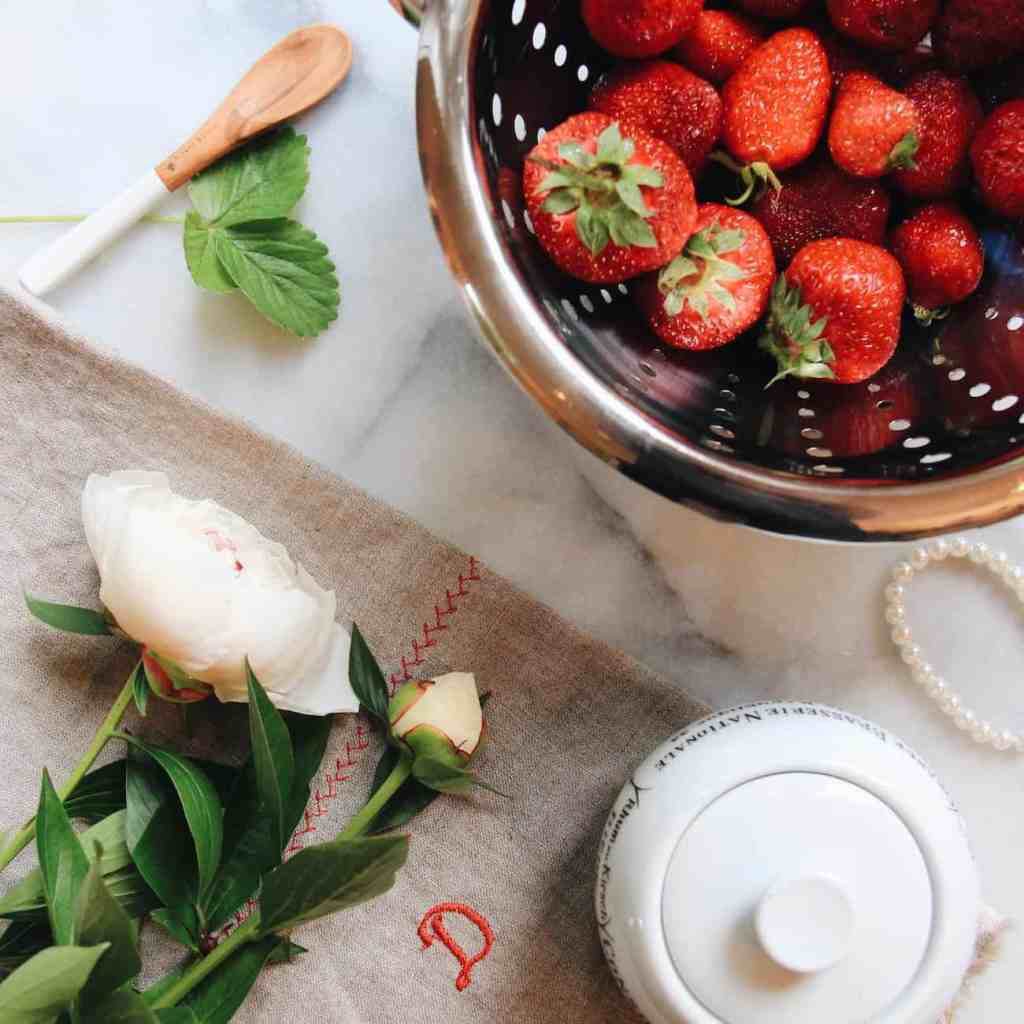 Strawberries and Peonies | Home for the Harvest Gardening Blog