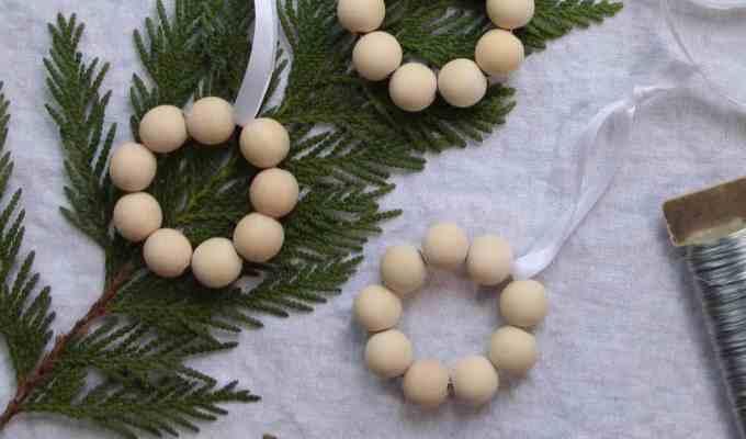 Wreath Ornaments: Mini Birch Bead Wooden Wreaths
