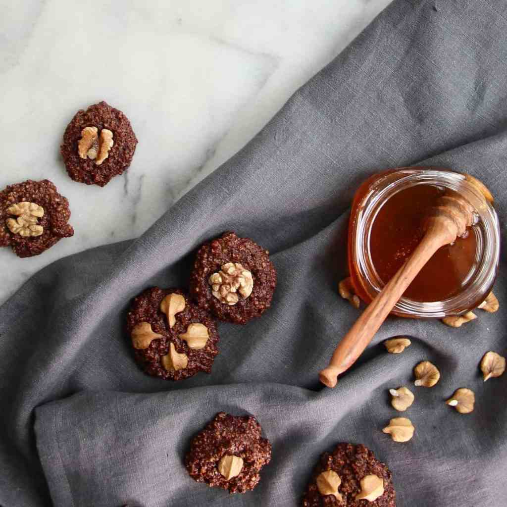 Chocolate Honey Walnut Cookies (Gluten-Free, No Refined Sugar)