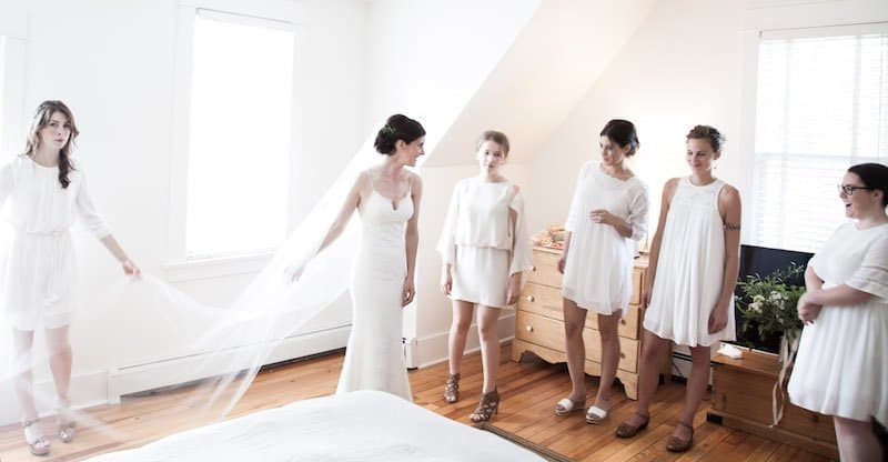 Bridal Party in White Dresses | Home for the Harvest - by Lightwell Photo