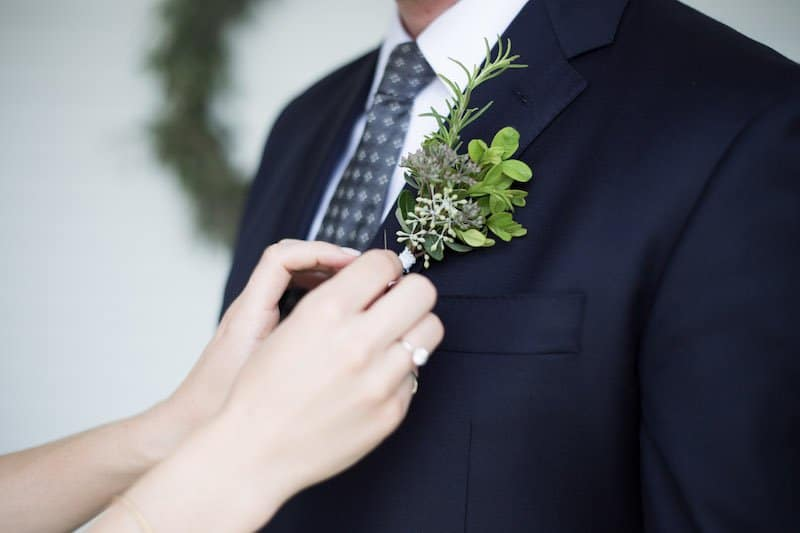Garden Wedding Foliage and Herb Boutonniere | Home for the Harvest - by Lightwell Photo