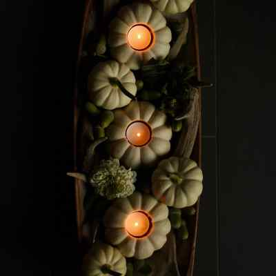 White Pumpkin Centerpiece with Mini Pumpkin Tea Lights