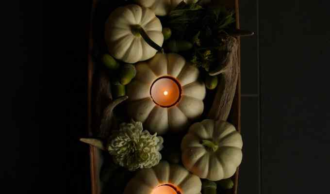 White Pumpkin Centerpiece with Mini Pumpkin Tea Lights