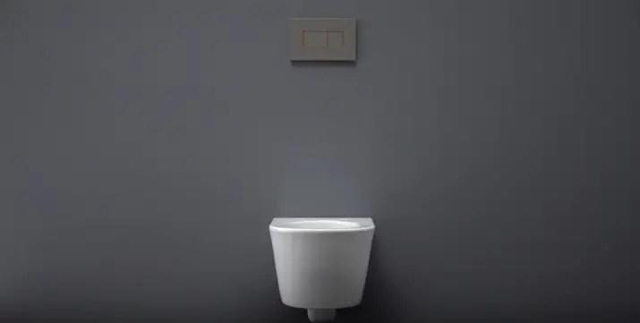 the final setup of a wall hung toilet