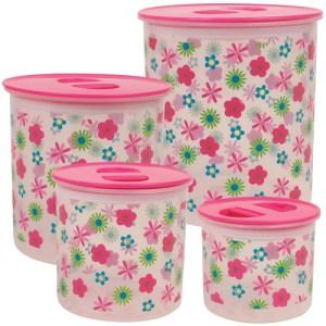 Four funky Rice home storage tins