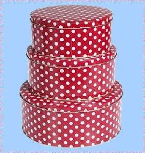 Red polka dot cake tin set