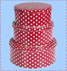 Red polka dot cake tin set